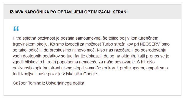 Izjava po hitrostni optimizaciji strani (Gašper)