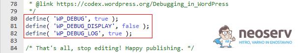 Beleženje PHP napak v debug.log (WordPress)