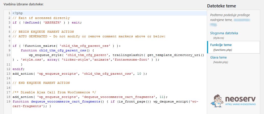 WordPress skripta za izključitev košarice na vstopni strani