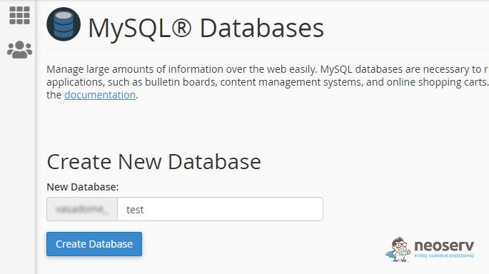 Kreiranje podatkovne baze v cPanel