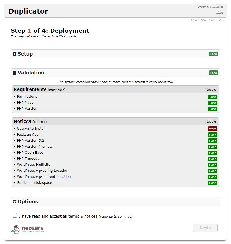 Instalacija WordPress-a z Duplicator vtičnikom