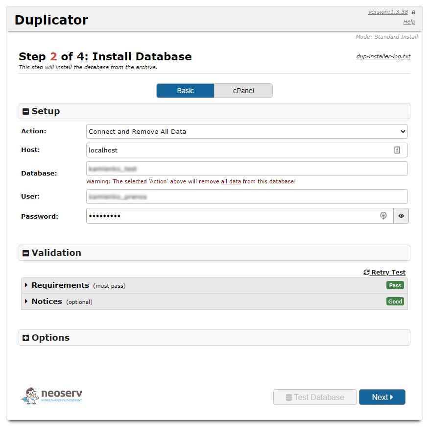 Duplicator vtičnik uspešna povezava z bazo