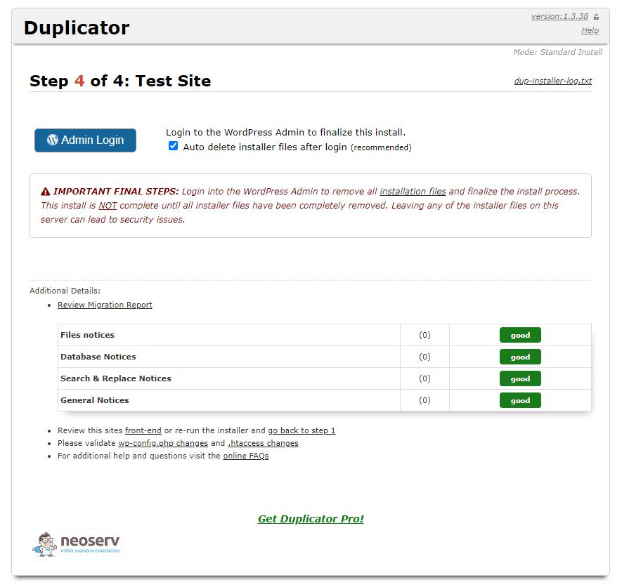 Končne nastavitve v Duplicator vtičniku