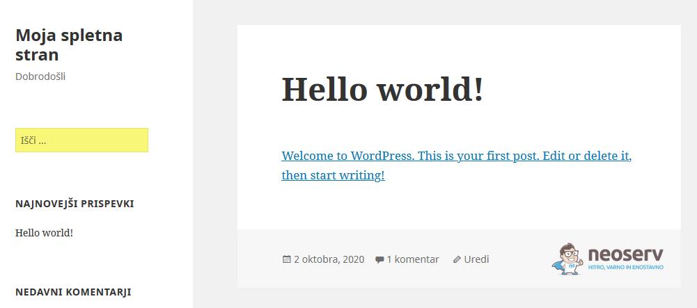 Spletna stran s spremenjeno CSS kodo