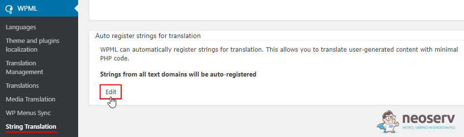 WPML - Samodejna registracija besedilnih nizov za prevajanje
