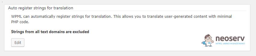 WPML - Obvestilo o izključitvi prevodov