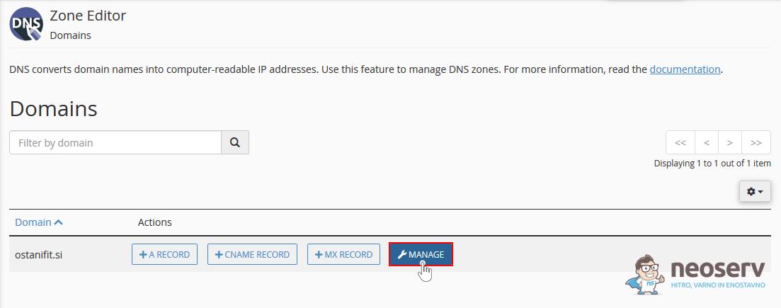cPanel - Zone Editor - MANAGE