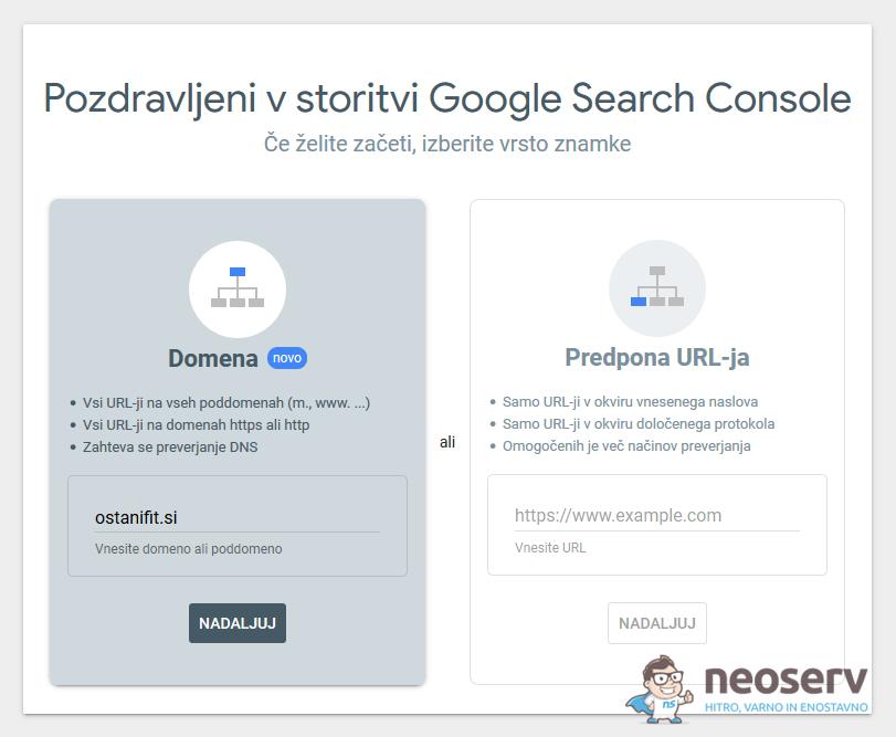 GSC – dodajanje domene