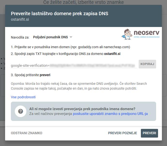 GSC - preverjanje lastništva domene prek zapisa DNS
