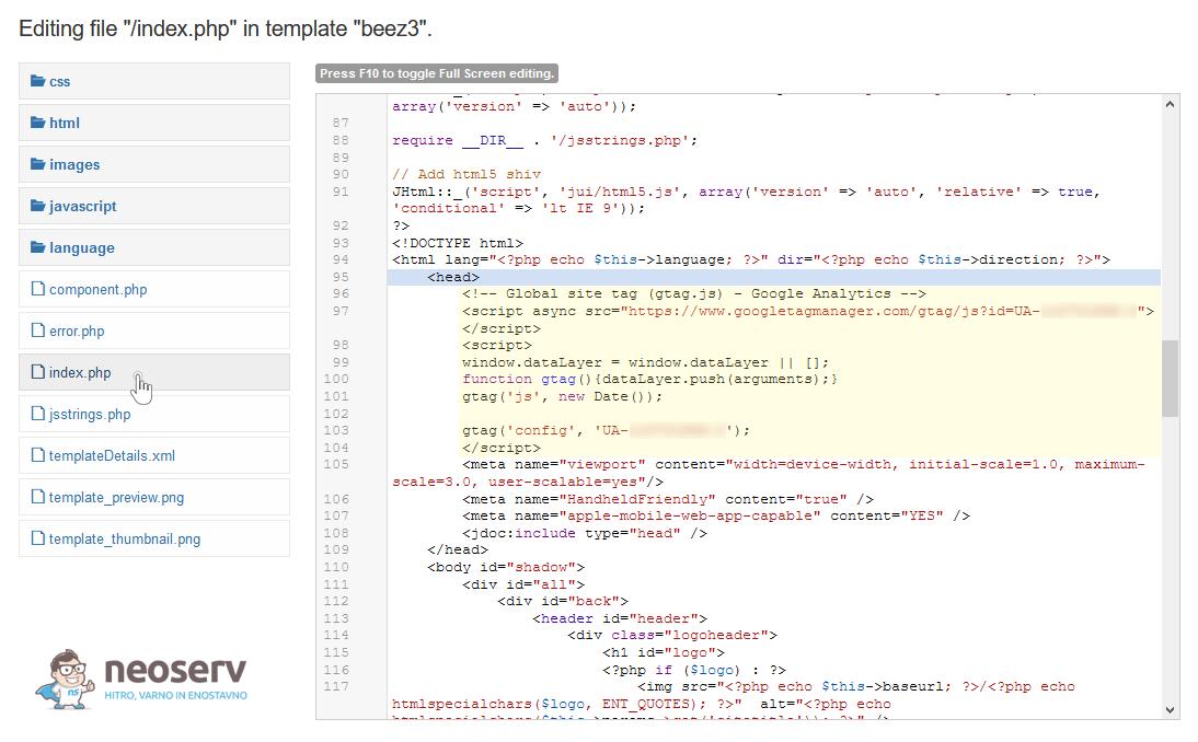 Joomla - Beez3 - index.php - GA koda za sledenje