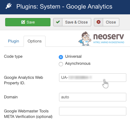 Joomla - razširitev Google Analytics - vnos ID