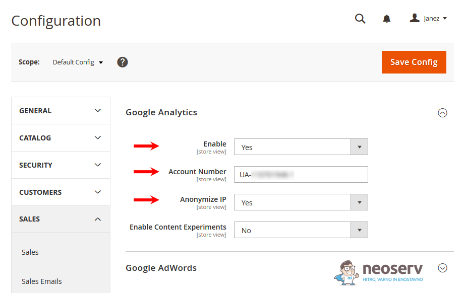Magento 2 - vnos Google Analytics kode
