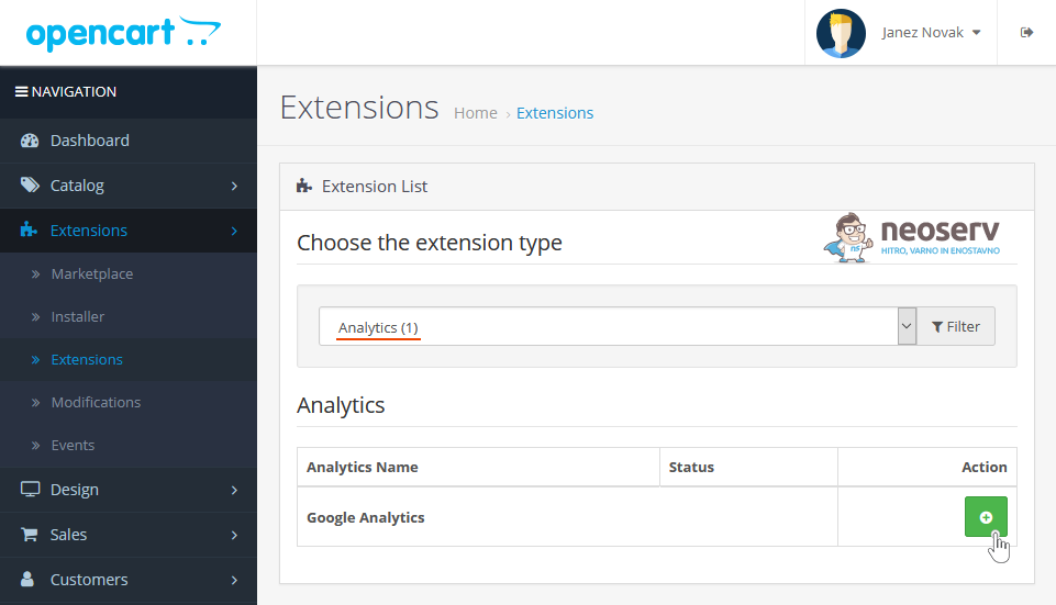 OpenCart - namestitev razširitve Google Analytics