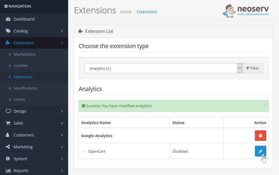 OpenCart - nastavitev razširitve Google Analytics
