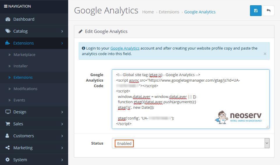OpenCart - vnos Google Analytics kode