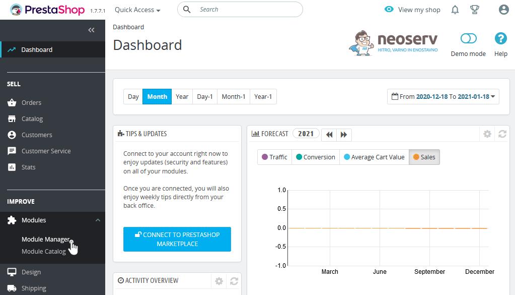 PrestaShop 1.7 - Module Manager