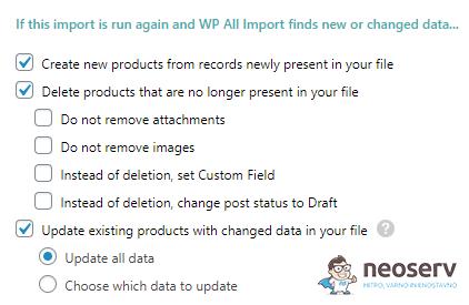 WP All Import - Uvoz produktov - lastnosti uvoza