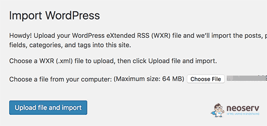 Naloži WordPress datoteko XML