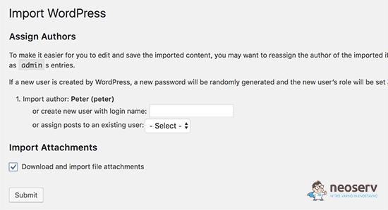 WordPress možnosti uvoza