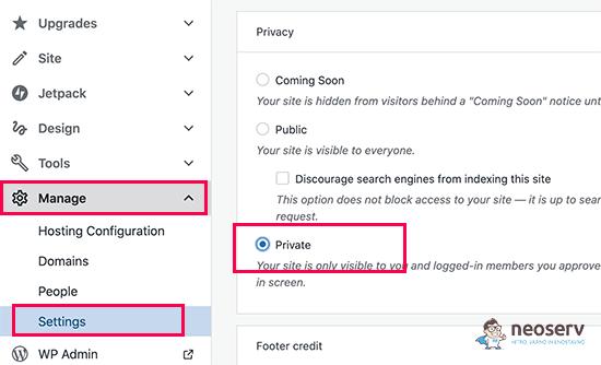 WordPress nastavitev zasebnosti