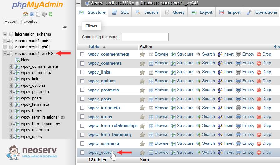 phpMyAdmin - WordPress tabela wp_users