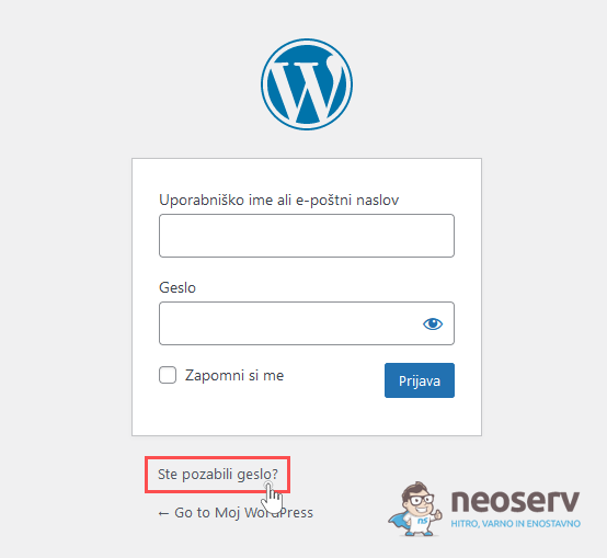 WordPress - pozabljeno geslo