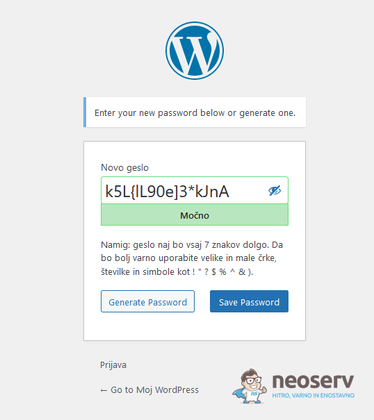 WordPress - nastavitev novega gesla