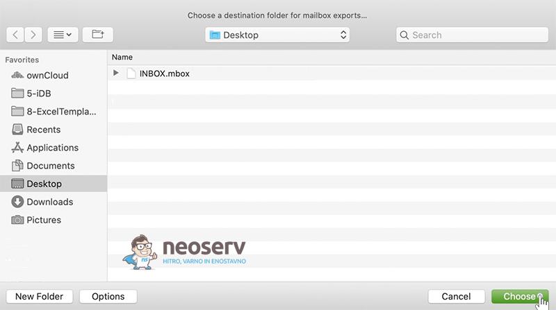 Mac Mail - Izbira mape za MBOX datoteko