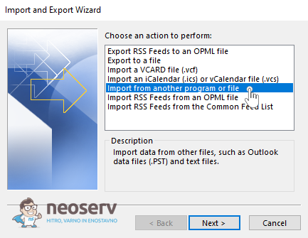 Outlook - Import from another program or file