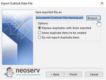 Outlook - Izbira lokacije za izvoz e-pošte
