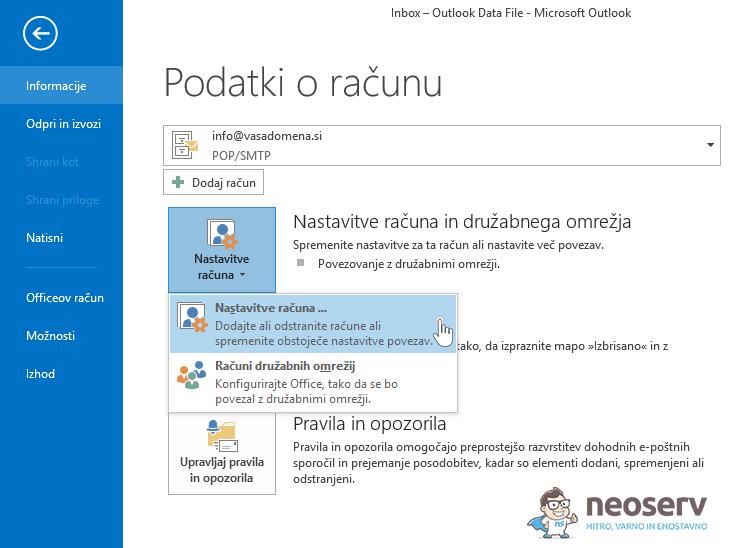 Outlook - Nastavitve računa