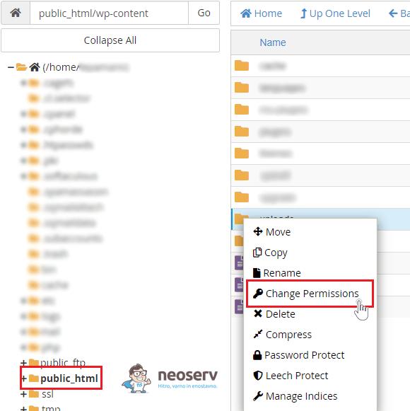 WordPress - sprememba dovoljenja datotek