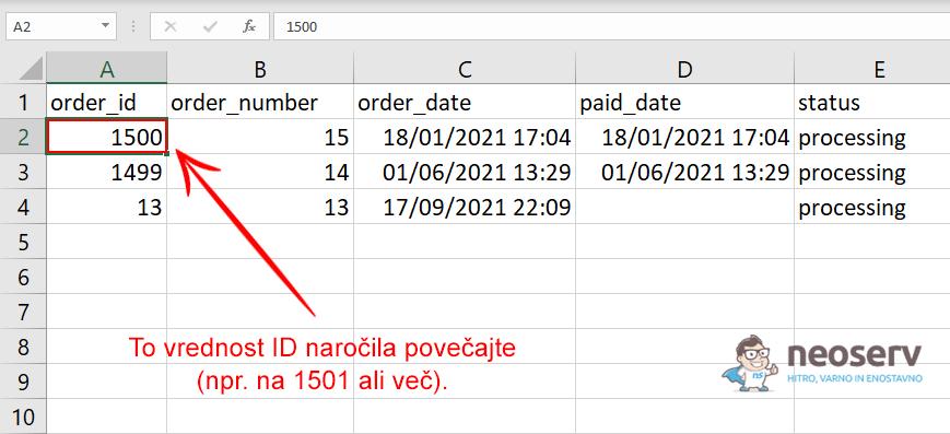 Popravek ID-ja naročila v tabeli