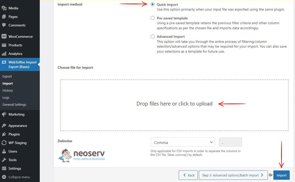 WooCommerce - uvoz naročil prek CSV datoteke (staging)