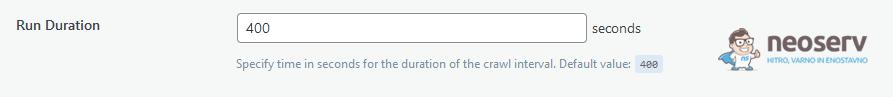 WordPress - LiteSpeed Cache - Crawler - Run Duration