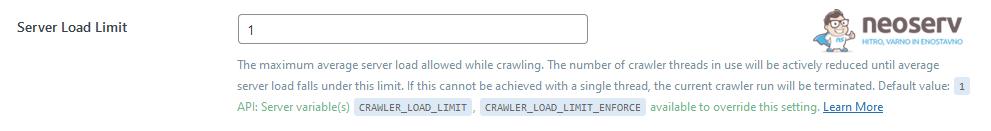 WordPress - LiteSpeed Cache - Crawler - Server Load Limit