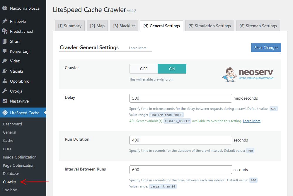 WordPress - LiteSpeed Cache - Crawler